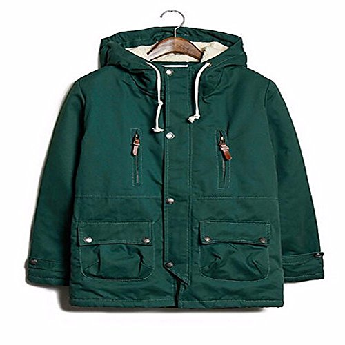 ZHUDJ Padded Coat Short Green Sleeves Light Cotton Long Simple Men's Solid Daily Cotton FwErqw