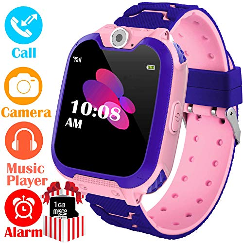 (Kids Smart Watch for Boys Girls - HD Touch Screen Sports Smartwatch Phone with Call Camera Games Recorder Alarm Music Player for Children Teen Students Age 3-12 (02 Pink))