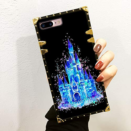 DISNEY COLLECTION Phone Case Compatible iPhone 7 8 Plus Color Painted Disney Castle Luxury Elegant Square Protective Metal Decoration Corner Back Cover Case Compatible iPhone 7 8 ()