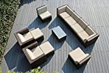 Genuine Ohana Outdoor Patio Wicker Sofa Mixed Brown Furniture 11pc Set with Free Patio Cover