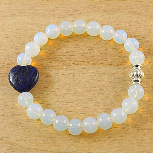 - Moonstone Round Beads with Dark Blue Natural Lapis Lazuli Heart Charm Stretch Bracelet 7 inches