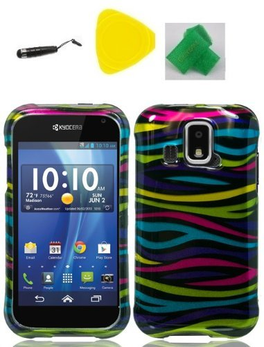 Rainbow Zebra Faceplate Hard Phone Case Cover Cell Phone Accessory + Yellow Pry Tool + Stylus Pen + EXTREME Band for Kyocera Hydro XTRM C6721 -  EC