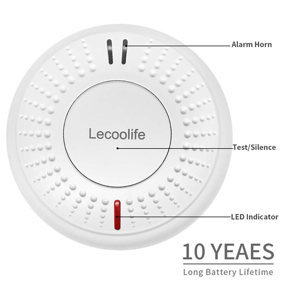 Lecoolife 2 Pack Smoke Detector Fire Alarm Built-in 10 Year Sealed Battery with Photoelectric Sensor by Lecoolife (Image #2)
