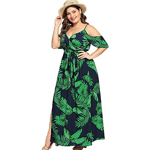 - Women's Plus Size Cold Shoulder Floral Slit Hem Tropical Summer Maxi Dress Empire Waist High Low Short Sleeves Dress Green