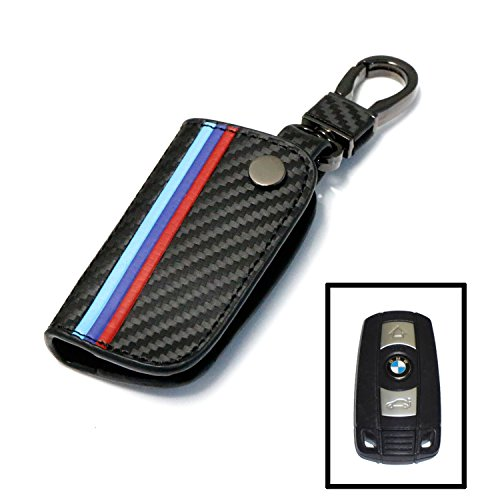 Bmw M3 Carbon Fiber (iJDMTOY M-Colored Stripe Black Carbon Fiber Pattern Leather Key Holder with Keychain For BMW Remote Fob (For Older 1 3 5 6 Series X5 X6 Z4))