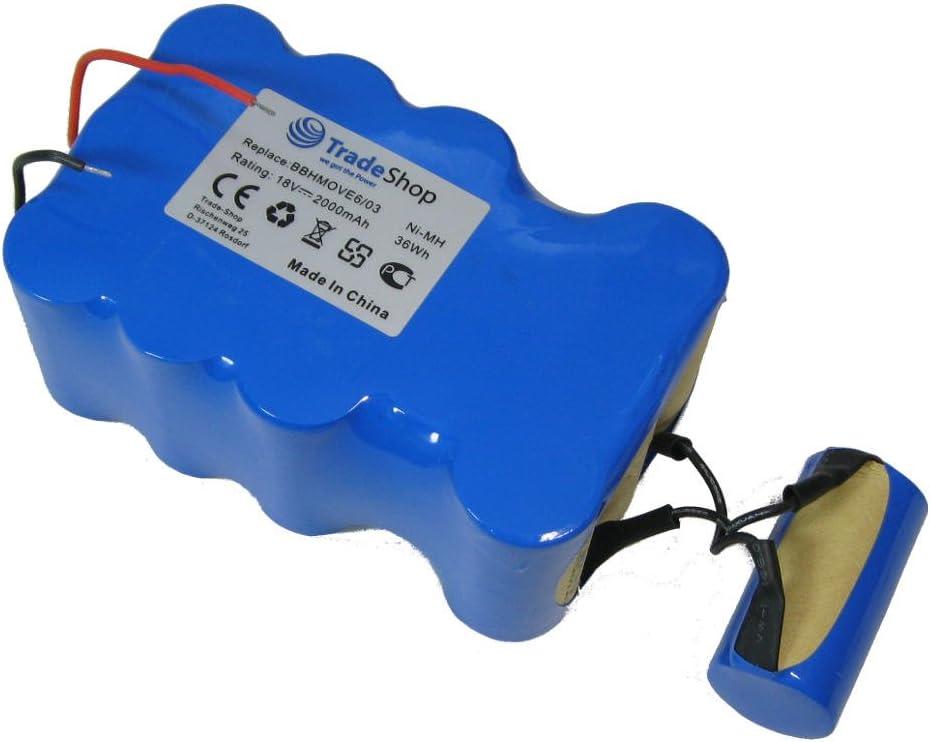 Trade Shop Premium – Batería de Ni-Mh, 18 V/2000 mAh/36 Wh sustituye a Bosch fd9403, 18 V/100 W + 10 W para BBHMOVE4 bbhmove6, bbhmove6/03 batería de aspiradora: Amazon.es: Hogar