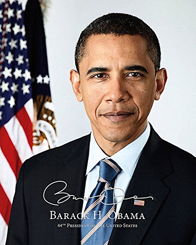 (President Barack Obama Official Presidential Portrait With Silver Signature 8x10 Silver Halide Photo Print )