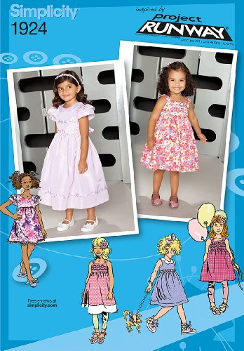 Simplicity Sewing Pattern 1924 Toddler's and Child's Dresses Project Runway Collection, Size AA (1/2-1-2-3)