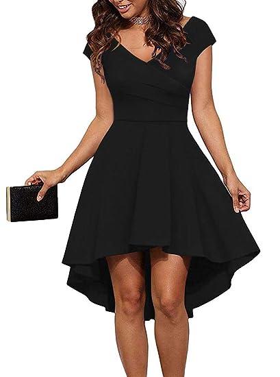 4159e0b7cbfd Women Short Sleeve V Neck Ruched High Low Cocktail Skater Swing Dress Black  Small