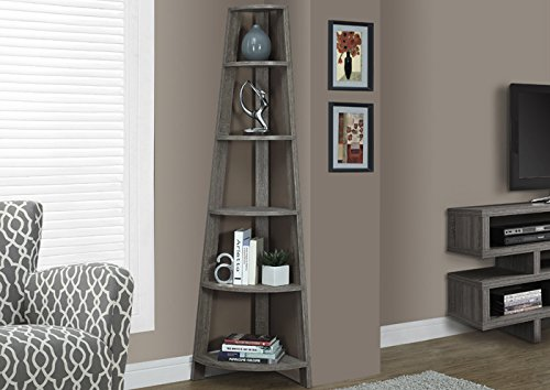 Nice Monarch Specialties I 2497, Corner Bookcase, Dark Taupe Reclaimed Look, 72 Part 21