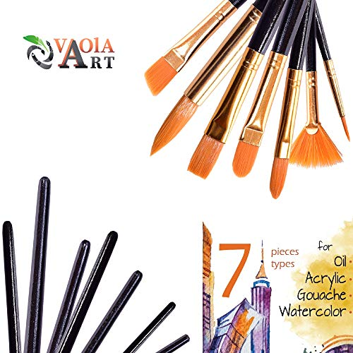 Paint Brushes - Acrylic Paint Brush - Watercolor Brushes - Paint Brush Set - Oil Paint Brushes - Art Brushes - Gouache Paint Brushes - Craft Paint Brushes - Black Paint Brushes - 7 Kinds of Brushes (Watercolor Brush Art)