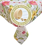 #10: Calla Lily Multi Tropical Floral Summer and Spring Indoor/Outdoor Soil Resistant and Water Repellent Fabric Tablecloth - Patio, Picnic, BBQ, Kitchen Table Linens, 60 Inch X 102 Inch Oblong, Multi