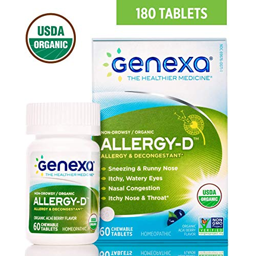 Genexa Allergy-D | Certified Organic & Non-GMO, Physician Formulated, homeopathic | Multi-Symptom Allergy Relief Medicine | 180 Tablets (3 Pack)