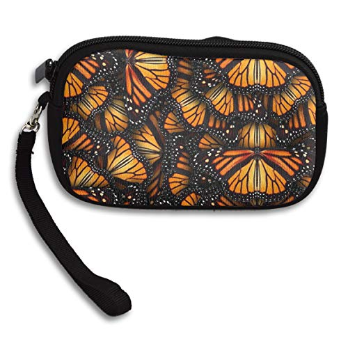 WOWRIGHT Kids Boys Girls Leisure Zipper Purse Heaps of Orange Monarch Butterflies Business Card Wallet Gift