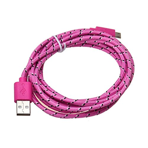 Price comparison product image Coohole 3M / 10FT Micro USB Charger Hemp Rope Sync Data Cable Cord for Cell Phone (Pink)