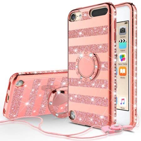 Glitter Cute Phone Case Girls Kickstand Compatible for Apple New iPod Touch/iPod Touch 6/iPod Touch 5 Case,Bling Diamond Ring Stand Soft Sparkly Case for iPod Touch 5/6th Generation, Rose Gold Stripe (Ipod 5 Cute Girl Cases)