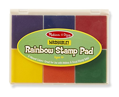Melissa & Doug Rainbow Stamp Pad - 6 Washable Inks (Stamp Rainbow Washable Pad)