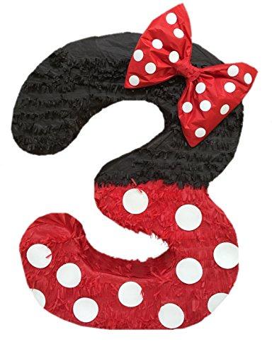 APINATA4U Black & Red Number Three Pinata with Bow 23