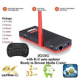KUKELE 2017 Strongest Android TV Stick S912 Octa Core Internet Media Center Player [K-U Updator/2GB+32GB/4K/WIFI/Instruction/Wireless Keyboard]
