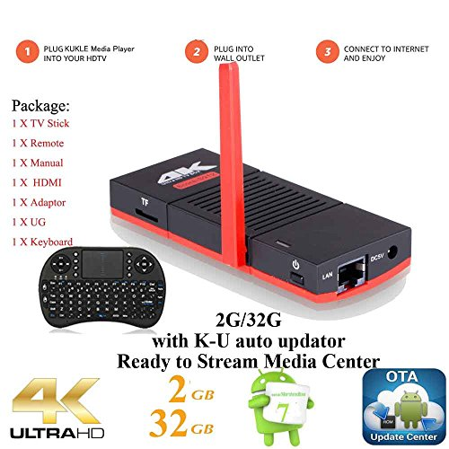 KUKELE 2017 Strongest Android TV Stick S912 Octa Core Internet Media Center Player [K-U Updator/2GB+32GB/4K/WIFI/Instruction/Wireless Keyboard] by KUKELE