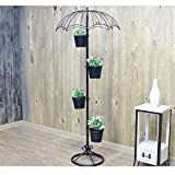 American Iron Multilayer Umbrella Flower Stand / Clothing Shop Coffee Shop Decoration Decoration / Creative Floor Umbrella Flower Stand ( Color : Black )