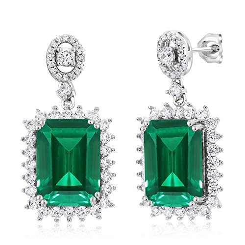 Gem Stone King 925 Sterling Silver Green Simulated Emerald Earrings 13.60 Cttw Emerald Cut 14X10MM
