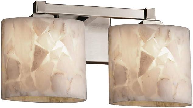Brushed Nickel Justice Design Group Lighting FAL-8412-30-NCKL-LED2-1400 Lumenaria-Union 2-Light Bath Bar-Oval Shade Faux Alabaster-LED