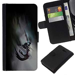 EJOY---La carpeta del tirón la caja de cuero de alta calidad de la PU Caso protector / Sony Xperia M2 / --Resumen Monster