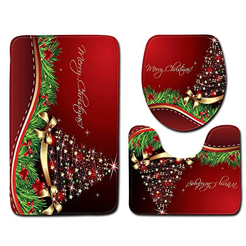 Christmas Bath Mat, Toilet Seat Cover and Rug