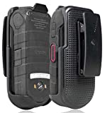 DuraXV LTE Holster, Nakedcellphone Black [Rotating/Ratchet] Belt Clip Holder Case [with Kickstand] for Kyocera DuraXV LTE E4610, DuraXE E4710