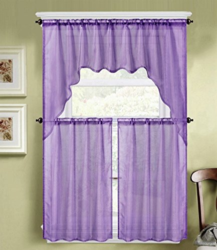 EliteHomeProducts 3PC Solid Voile Sheer Kitchen Curtain Set, 1 Swag Valance & 2 Tiers (Lilac, 3PC Swag Valance (Lilac Kitchen)