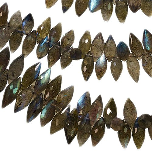 Facet Marquise - Labradorite Marquise Briolette Drops Facet Genuine Natural ~80 Beads 12mm 8