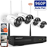 Home Security Camera System Wireless,SMONET 4CH 1080P Wirelese Surveillance System(1TB Hard Drive)-4pcs Mega 1.3 Wirless IP Cameras,P2P,Super Night Vision,Easy Remote View
