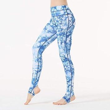 KDYZJK Azul Ropa Blanca Pantalones De Yoga con Estampado De ...