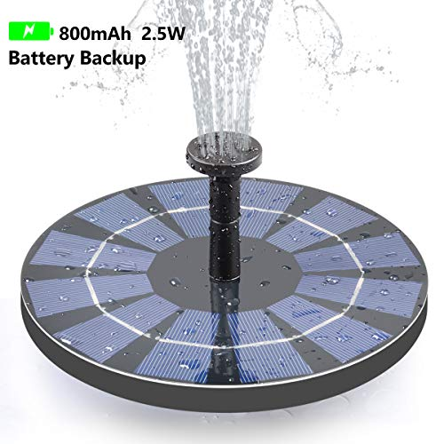 Tranmix Solar Fountain with Battery Backup, 2.5W Bird Bath Fountain Free Standing Solar Powered Fountain for Birdbath,Pond, Pool, Garden, Fish Tank (Solar Bird Fountain Bath)