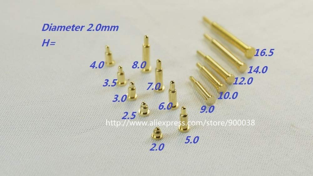Calvas 10 pcs Spring pogo pin connector diameter 2.0 mm height 2.0 2.5 3.0 3.5 4.0 5.0 6.0 7.0 8.0 9.0 10.0 12.0 14.0 16.0 18.0 mm SMD Color: Nine