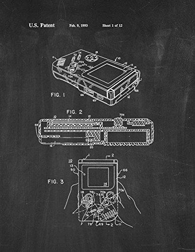 Gameboy Video Game System Patent Print Chalkboard (8.5' x 11') M11519