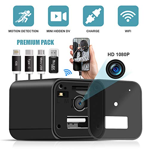 USB Spy Camera Charger,WiFi Hidden Camera Charger,Spy Camera Wireless Hidden 1080P HD Live Streaming with App, Nanny Cam Motion Activated,Supports 128GB Card,Works with iOS and Android [2019 Upgrade]