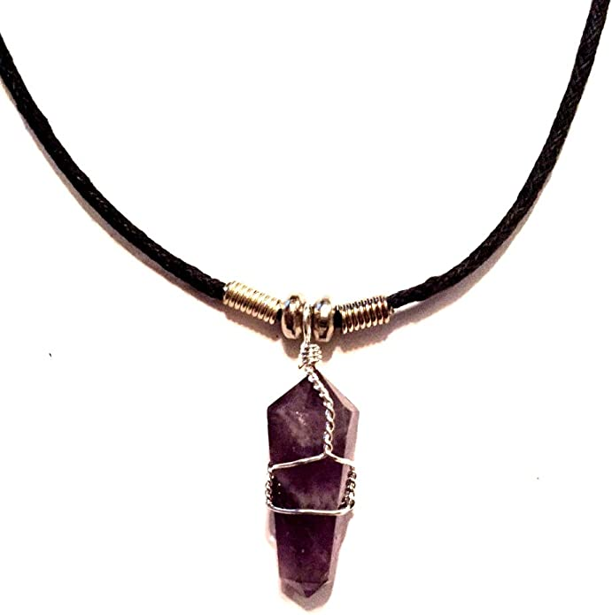 wire wrapped amethyst pendent wire wrapped amethyst pendent Amethyst stalactite slice necklace amethyst jewelry sterling silver pendent