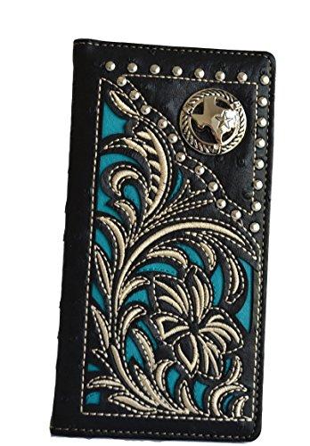 Studded Checkbook Wallet - mens men brown black Texas Longhorn lazer cut stitched tall bifold wallet (Black)