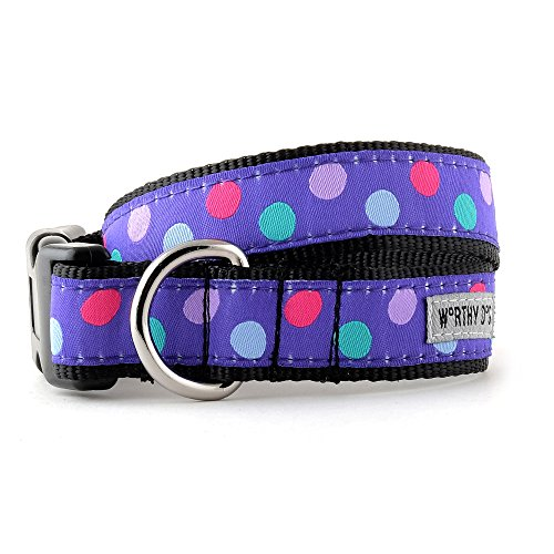 The Worthy Dog   Gumball Purple Polka Dot  Adjustable Designer Pet Dog Collar , Purple, S