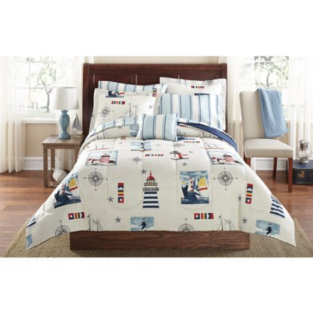 Soft and Cozy Mainstays Lighthouse Bed in a Bag Coordinated Bedding Set, Nautical, Stars & Space, White, Multi Color, Twin/Twin Extra Long