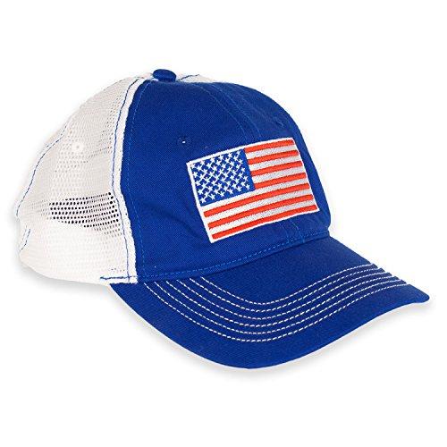 12b95bd9085f9 American Flag Cap USA Mesh Patriotic Hat (Blue/White) - Import It All