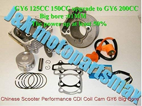 scooter GY6 125cc 150cc Upgrade to GY6 200cc,Big bore 61mm 157qmj 152qmi Engine add Power at Least 50/%,Racing Cylinder kit Head