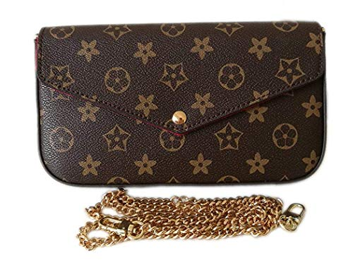 Womens Monogram Canvas Flap Purse Small Chain Cross Body Bag - Flap Bag Small