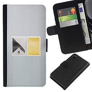 Be-Star la tarjeta de Crédito Slots PU Funda de cuero Monedero caso cubierta de piel Para Sony Xperia Z3 D6603 ( House Window Deep Minimalist )
