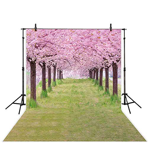 Allenjoy 5x7ft Spring Photography Backdrop Fairytale Dreamy Magical Cherry Blossoms Tree Green Grass Photography Background Children Baby Photo Studio Props
