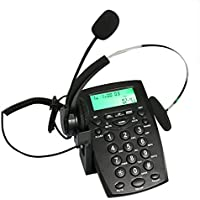 GLE2016 Dialpad with Headset, Corded Phone [Call Center] Telephone with Headset and Recording Cable and Tone Dial Key Pad / Redial