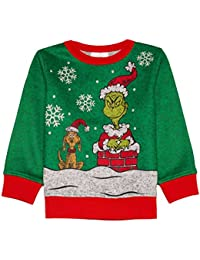 Disney Toddler Boys Green Grinch That Stole Christmas & Max Dog Holiday Sweater