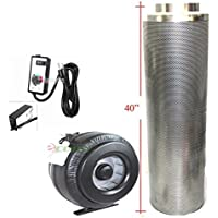 8 Carbon Filter & Variable Speed Inline Fan Air Blower Odor Control Scrubber